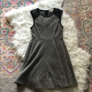 Grey knit dress with black lace details